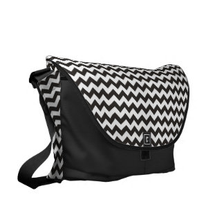 Chic Black and White Chevrons Pattern Courier Bag