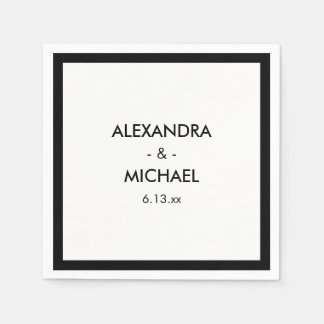 Chic Black and White French Inspired Wedding Disposable Napkins