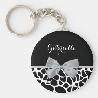 Chic Black and White Giraffe Print Silver Gray Bow Basic Round Button Key Ring