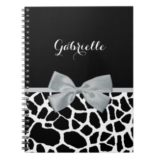 Chic Black and White Giraffe Print Silver Gray Bow Notebooks
