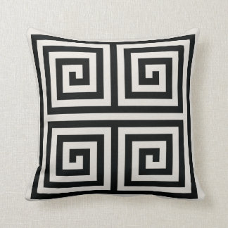 Chic black and white greek key geometric patterns throw pillow