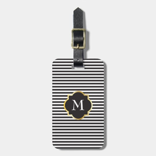 Chic Black and White Stripe Gold Monogram Luggage