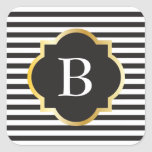 Chic Black and White Stripe Gold Monogram Square Sticker