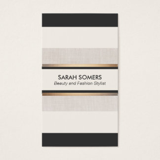 Chic Black and White Striped Gold Designer Business Card