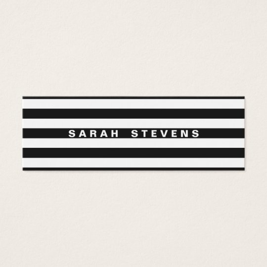 Chic Black and White Striped Modern Salon & Spa Mini Business Card