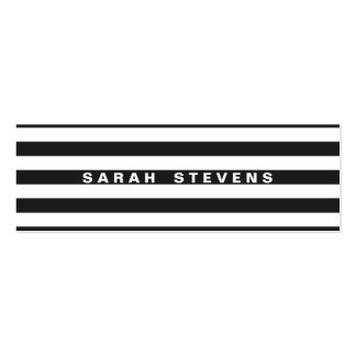 Chic Black and White Striped Modern Salon & Spa Pack Of Skinny Business Cards