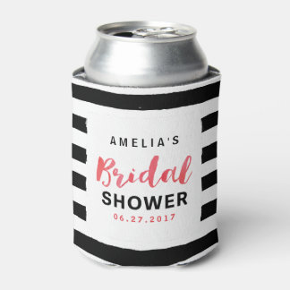 Chic Black and White Stripes Red Bridal Shower