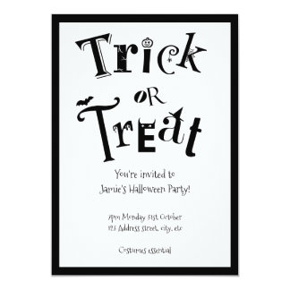 Chic black and white trick or treat card