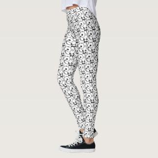 Chic Black and White Victorian Swirls Pattern Leggings