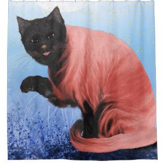 Chic Black Bird Kitty Shower Curtain