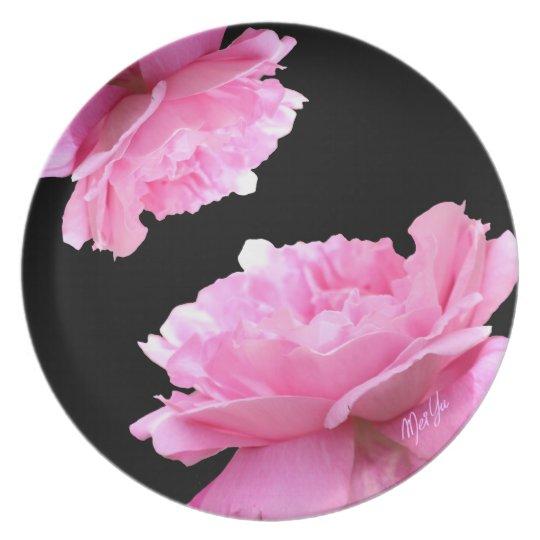 Chic Black Floral Dinner Plate   Break Resistant