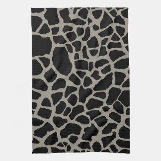 Chic Black Giraffe Print Elegant Animal Pattern Hand Towels