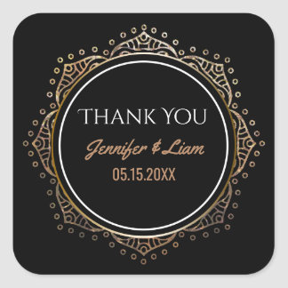 Chic Black Gold Boho Wedding | Thank You Favor Square Sticker