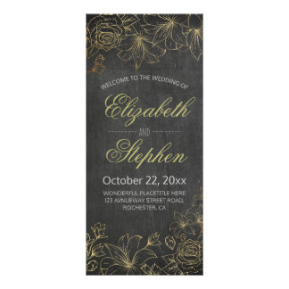 Chic Black Gold Chalkboard Floral Wedding Program Full Colour Rack Card