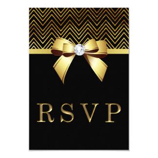 Chic Black Gold Chevrons Diamond Bow RSVP 9 Cm X 13 Cm Invitation Card