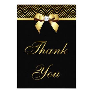 Chic Black Gold Chevrons Diamond Bow Thank You 9 Cm X 13 Cm Invitation Card