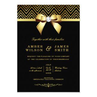 Chic Black Gold Chevrons Diamond Bow Wedding 13 Cm X 18 Cm Invitation Card