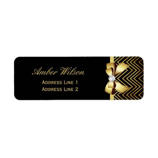 Chic Black Gold Chevrons Return Address Label