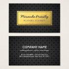 Chic Black & Gold Faux Gold Foil Dark Metal Grids Business Card
