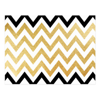 Chic black gold faux leaf chevron patterns postcard