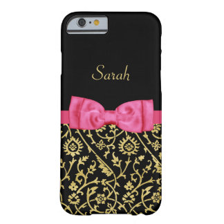 Chic Black Gold Floral Damask Pink Bow and Name Barely There iPhone 6 Case