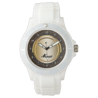 Chic Black Gold Glitter | Nurses Nursing RN Wrist Watch