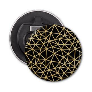 Chic Black Gold Glitter Stripe Geometric Pattern Bottle Opener