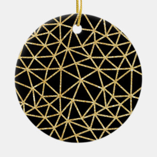 Chic Black Gold Glitter Stripe Geometric Pattern Christmas Ornament