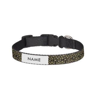 Chic Black Gold Glitter Stripe Geometric Pattern Pet Collar