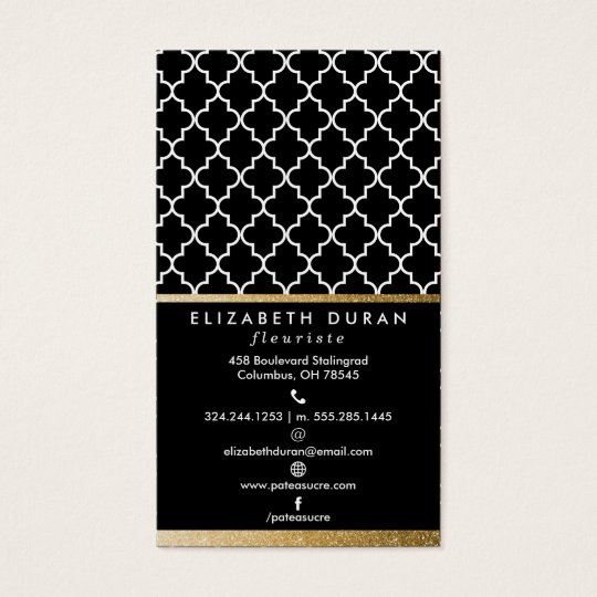 Chic Black Gold Moroccan Tiles Pattern Custom Business