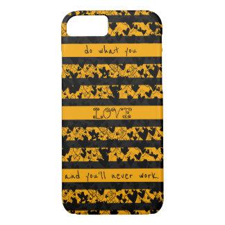 Chic Black Hearts Stripes Bold Orange Love Work iPhone 7 Case