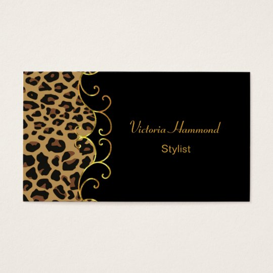 Chic Black & Jaguar Print Business Card