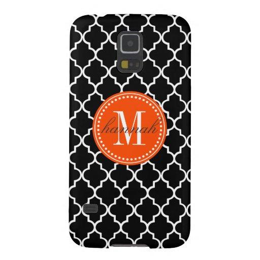 Chic Black Moroccan Lattice Personalized Galaxy S5 Case