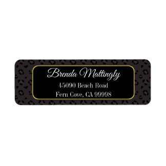 Chic Black Panther Leopard Gold Return Address