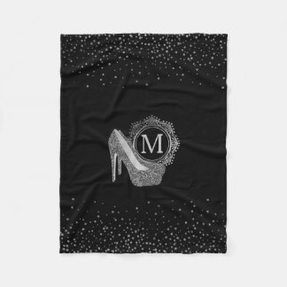 Chic Black Silver Glitter High Heel Shoes Monogram Fleece Blanket