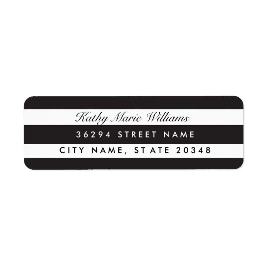 Chic Black Striped Address Labels