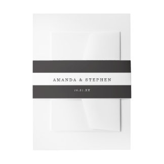 Chic Black Stripes Invitation Belly Band