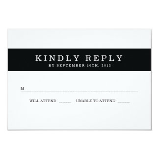 Chic Black Stripes Wedding RSVP 9 Cm X 13 Cm Invitation Card
