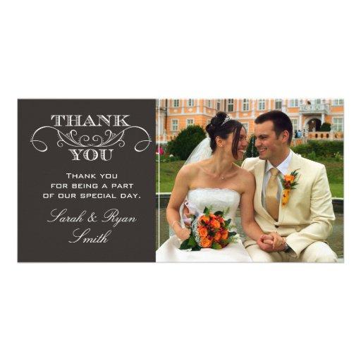 Chic Black Wedding Photo Thank You Cards Customized Photo Card