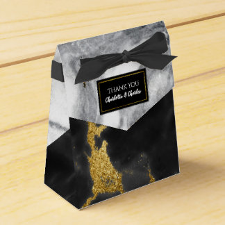Chic Black White and Gold Marble Favor Box