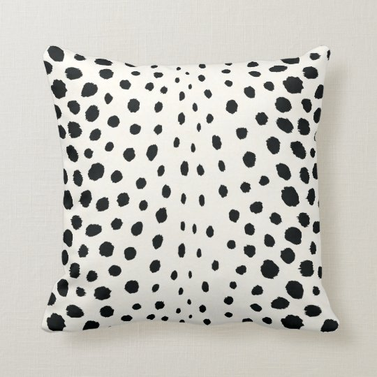 Chic black white cheetah print pattern monogram throw