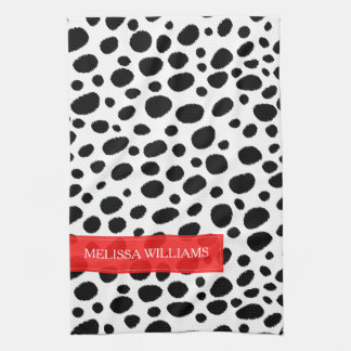Chic Black & White Cheetah Spots Pattern Kitchen Towel