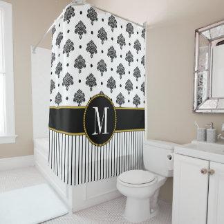 Chic Black White Damask Dots Stripes Monogram Shower Curtain