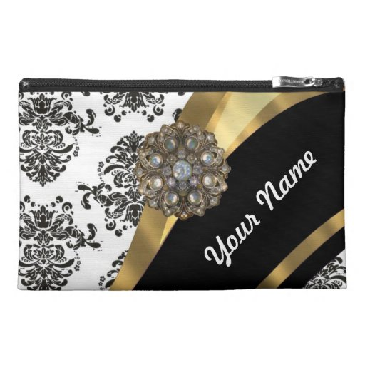 Chic black & white damask & gold travel accessory bags