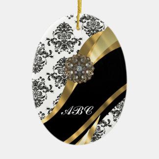 Chic black & white damask & gold christmas ornament