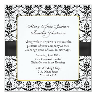 Chic Black & White Damask Wedding Invitation
