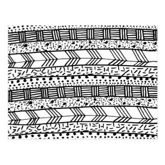 Chic black white hand drawn tribal pattern postcard