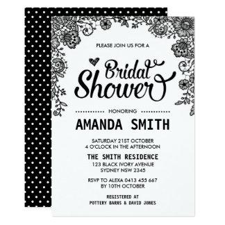 Chic Black & White Lace Bridal Shower Invitation