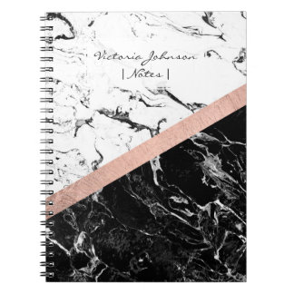 Chic black white marble color block rose gold notebooks