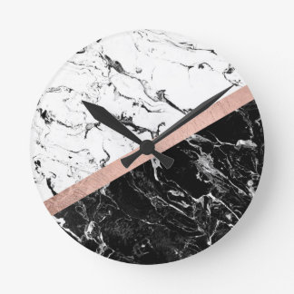 Chic black white marble color block rose gold round clock